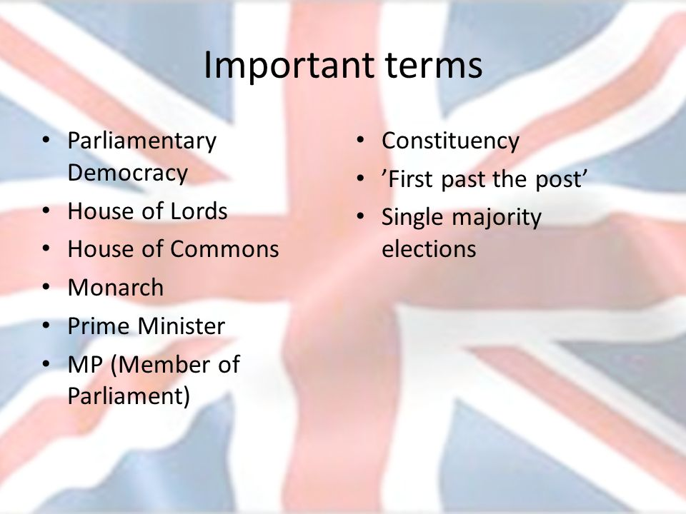 Important terms Parliamentary Democracy House of Lords