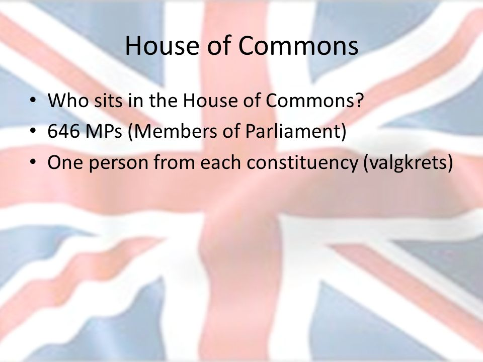 House of Commons Who sits in the House of Commons