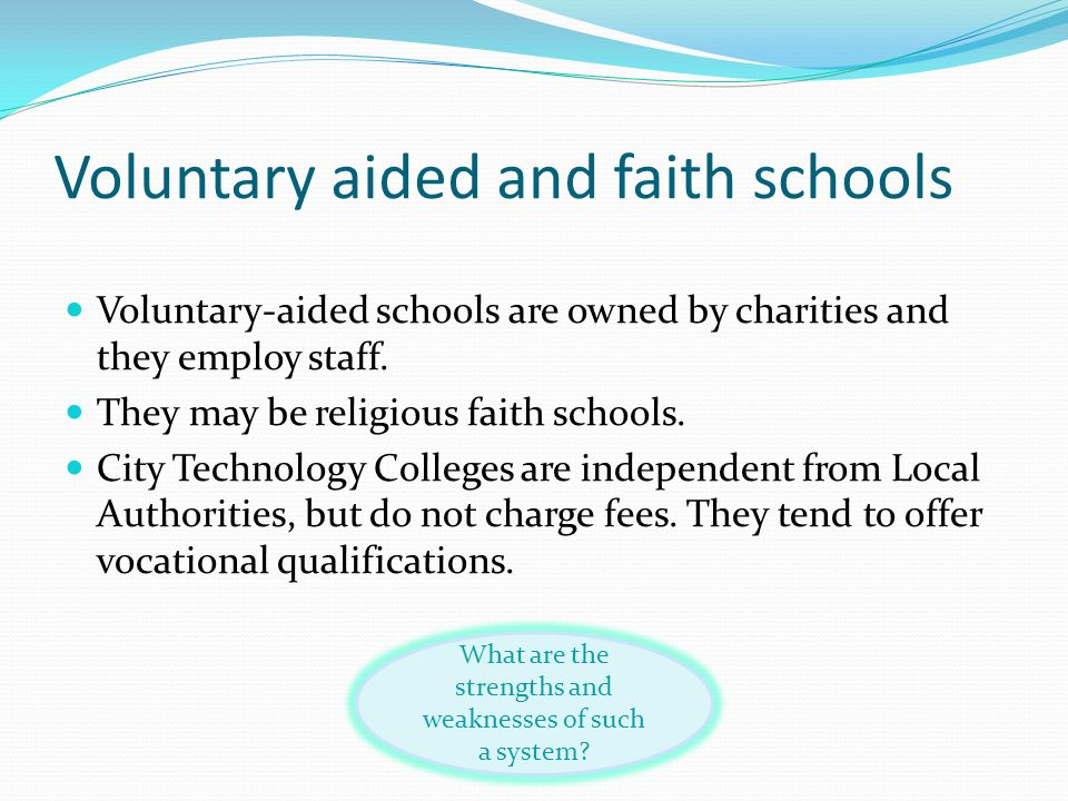 Voluntary aided and faith schools
