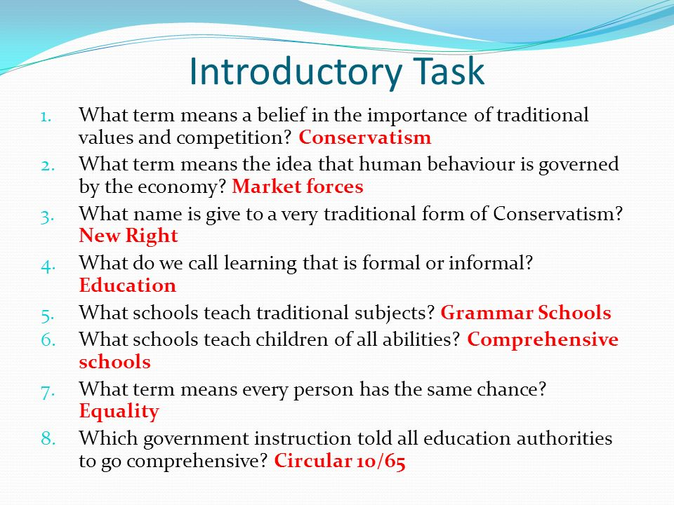 Introductory Task What term means a belief in the importance of traditional values and competition Conservatism.