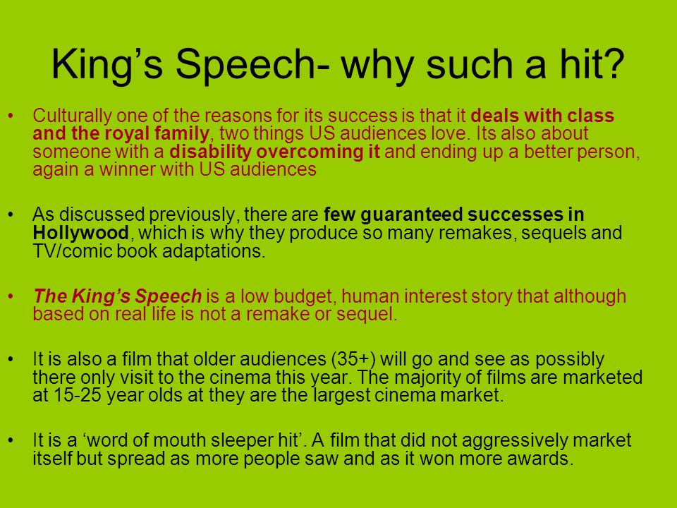King's Speech- why such a hit