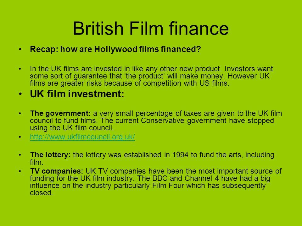 British Film finance UK film investment: