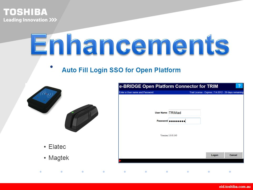 Enhancements Auto Fill Login SSO for Open Platform Elatec Magtek