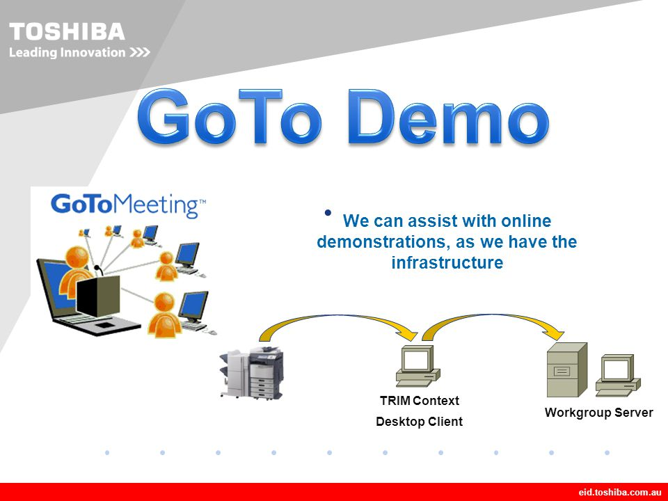 GoTo Demo We can assist with online demonstrations, as we have the infrastructure. TRIM Context. Desktop Client.