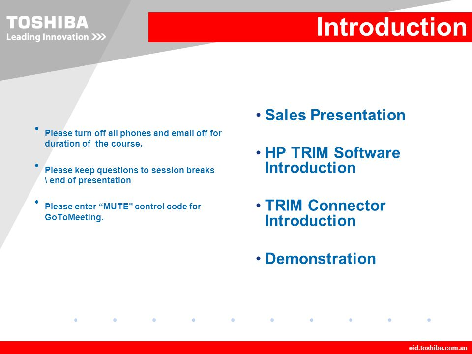 Introduction Sales Presentation HP TRIM Software Introduction