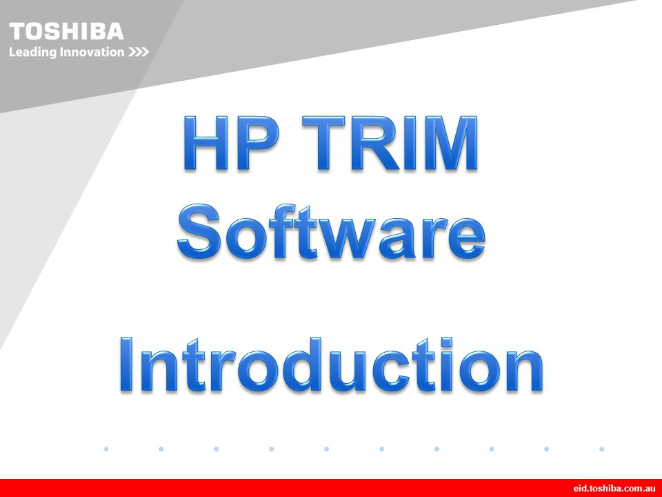 HP TRIM Software Introduction