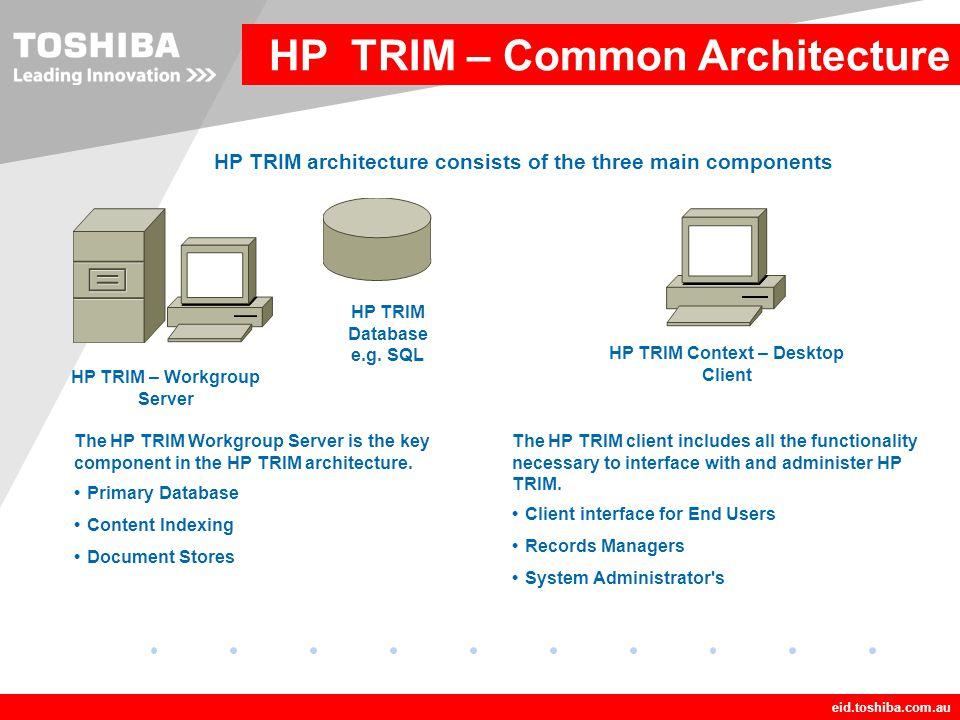 HP TRIM – Workgroup Server HP TRIM Context – Desktop Client