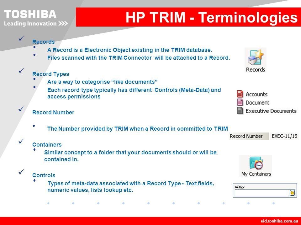 HP TRIM - Terminologies