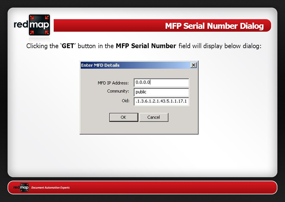 MFP Serial Number Dialog