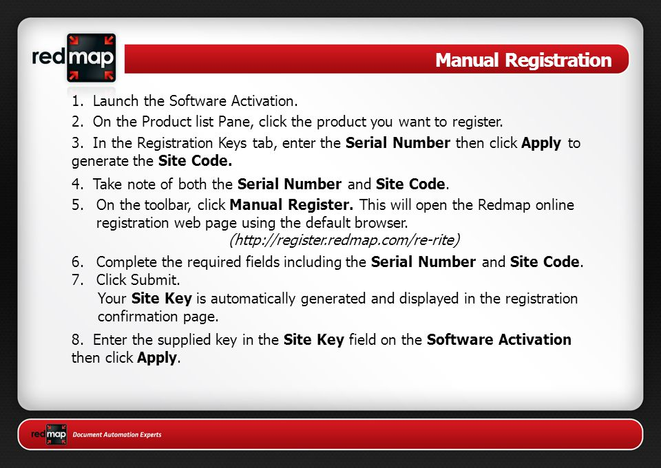 Manual Registration 1. Launch the Software Activation.