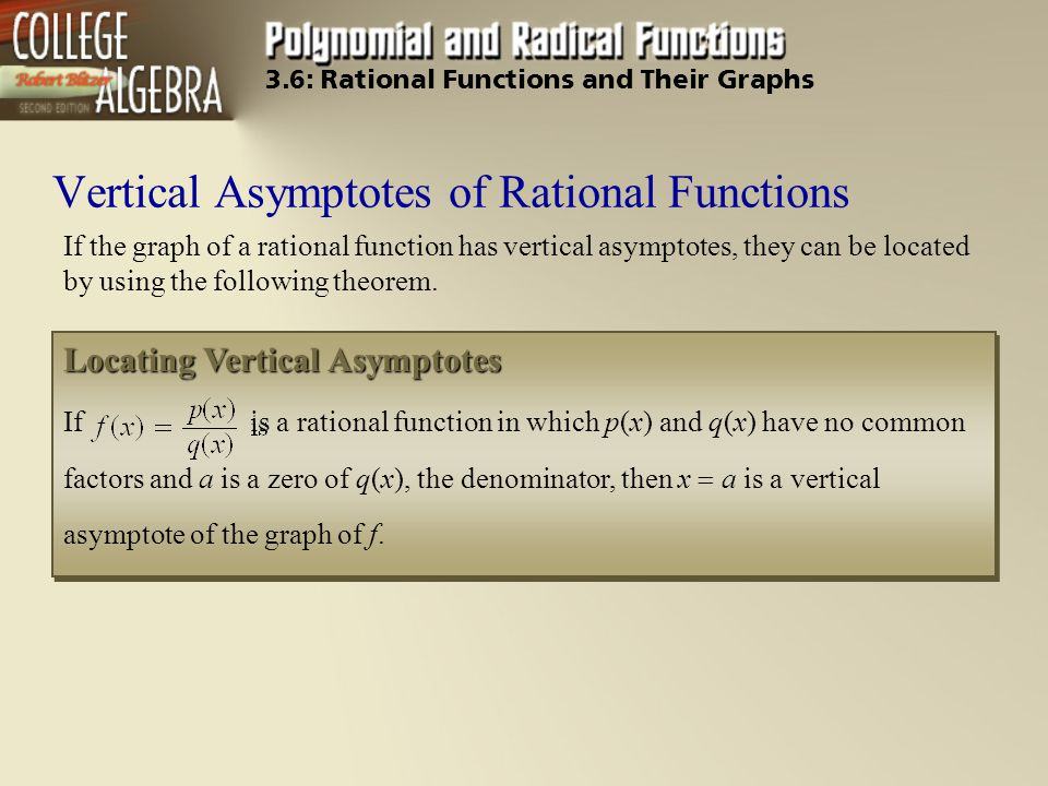 Vertical Asymptotes of Rational Functions