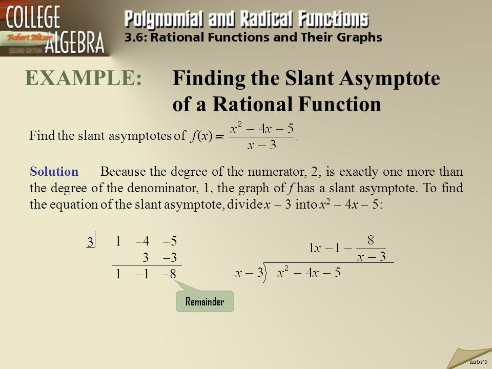 EXAMPLE: Finding the Slant Asymptote of a Rational Function