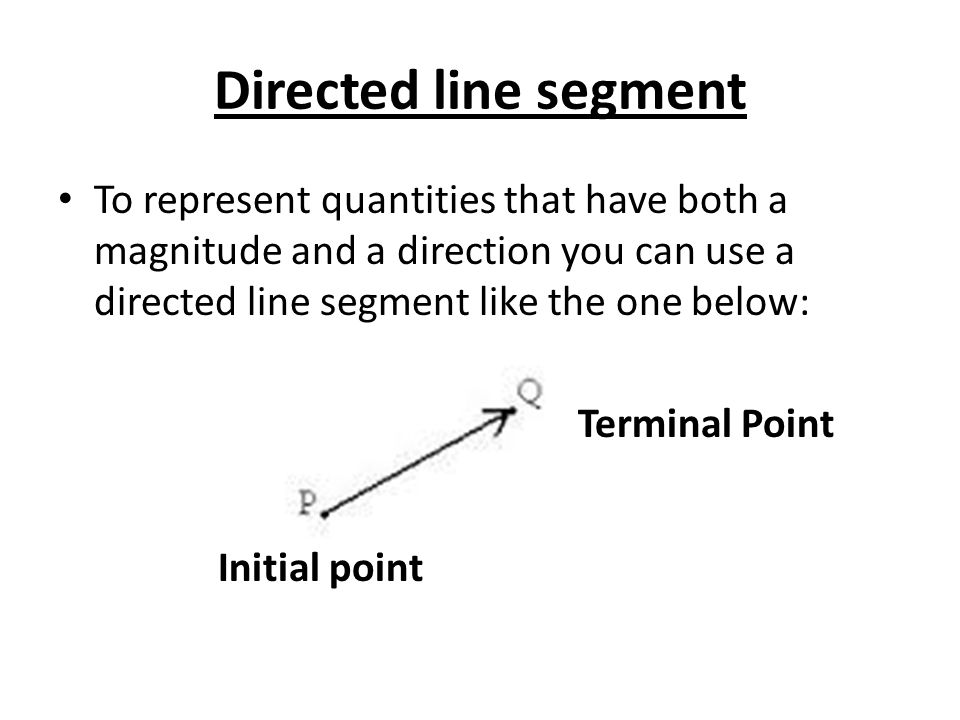 Directed line segment To represent quantities that have both a magnitude and a direction you can use a directed line segment like the one below: