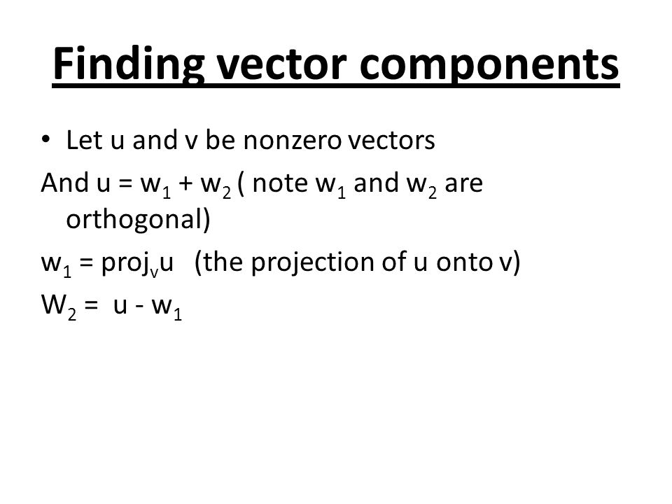 Finding vector components