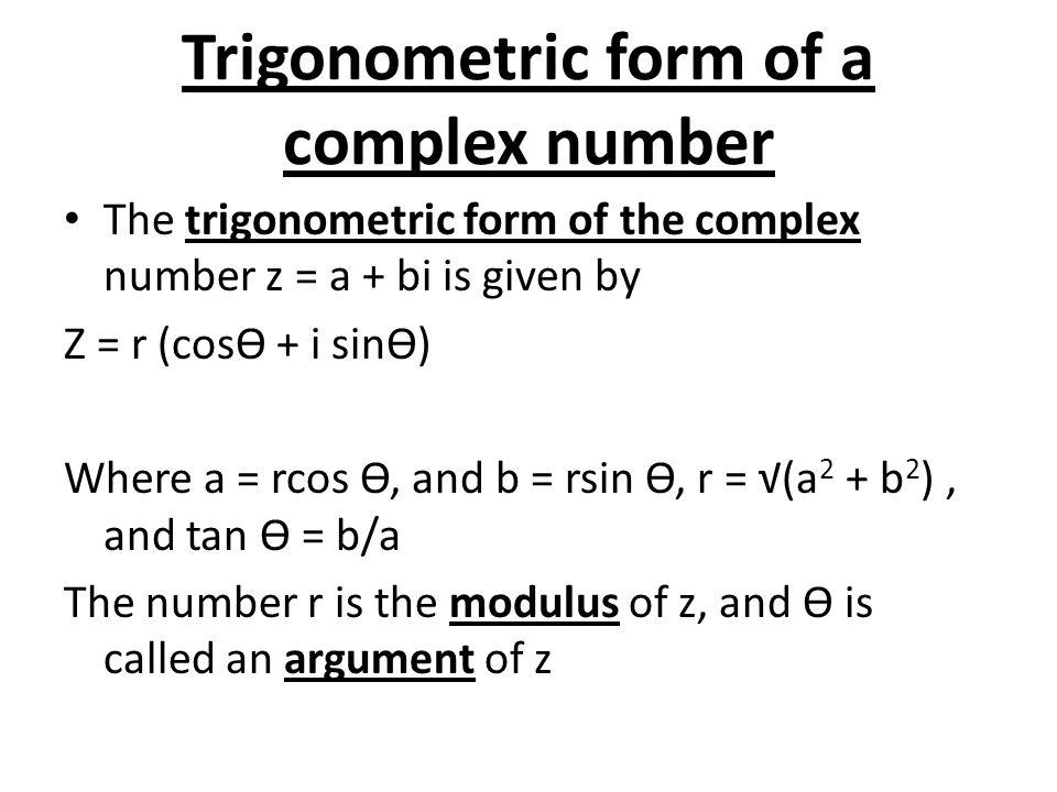 Trigonometric form of a complex number
