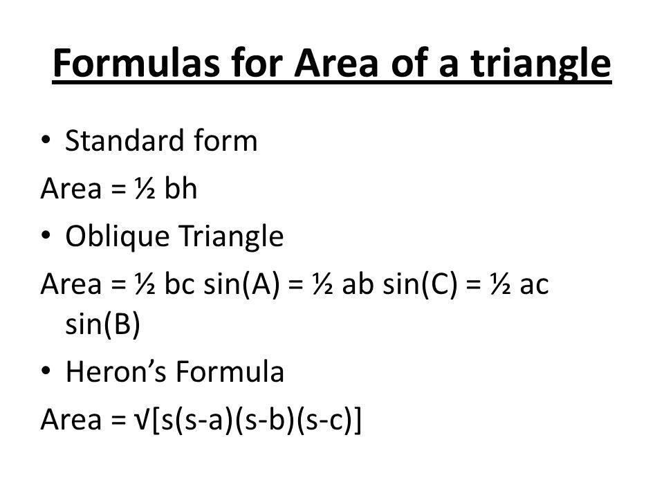 Formulas for Area of a triangle