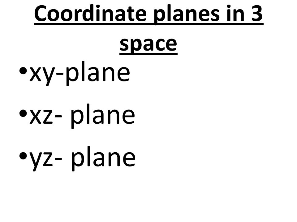 Coordinate planes in 3 space