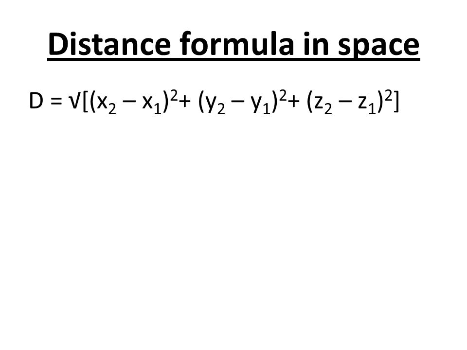 Distance formula in space