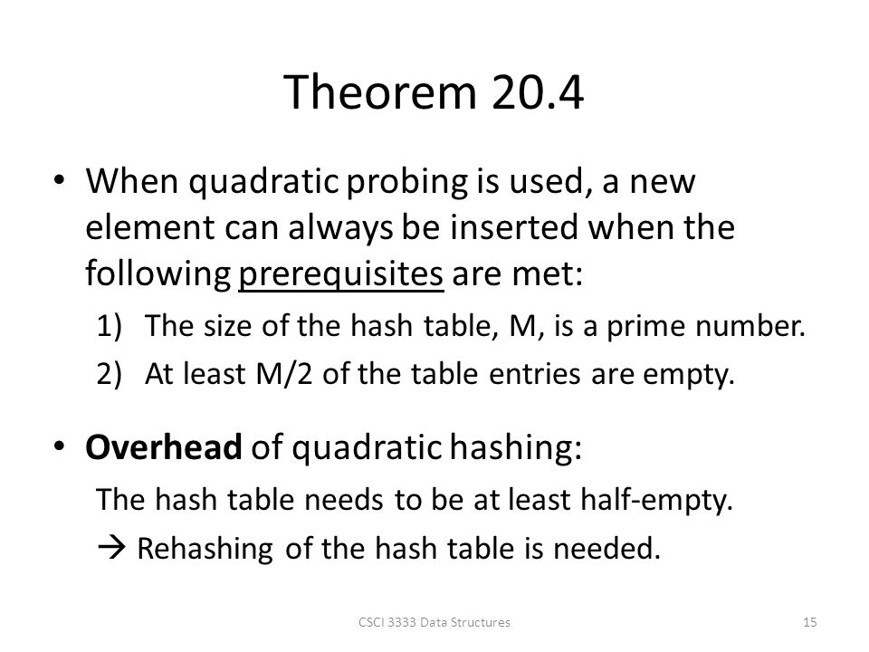 Theorem 20.4 When quadratic probing is used, a new element can always be inserted when the following prerequisites are met: