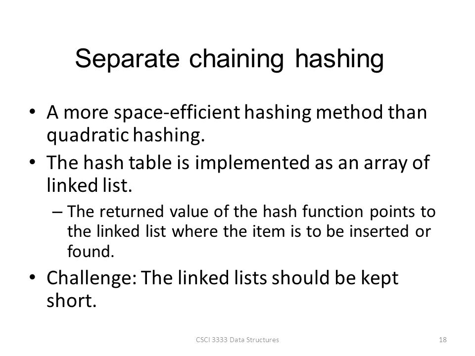 Separate chaining hashing