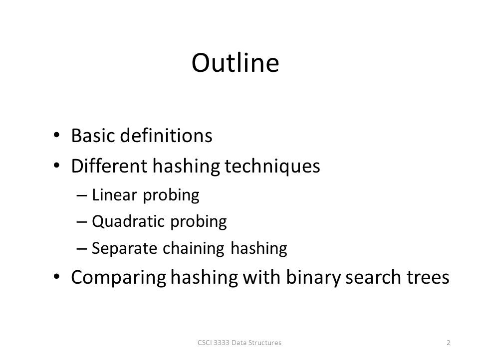 Outline Basic definitions Different hashing techniques