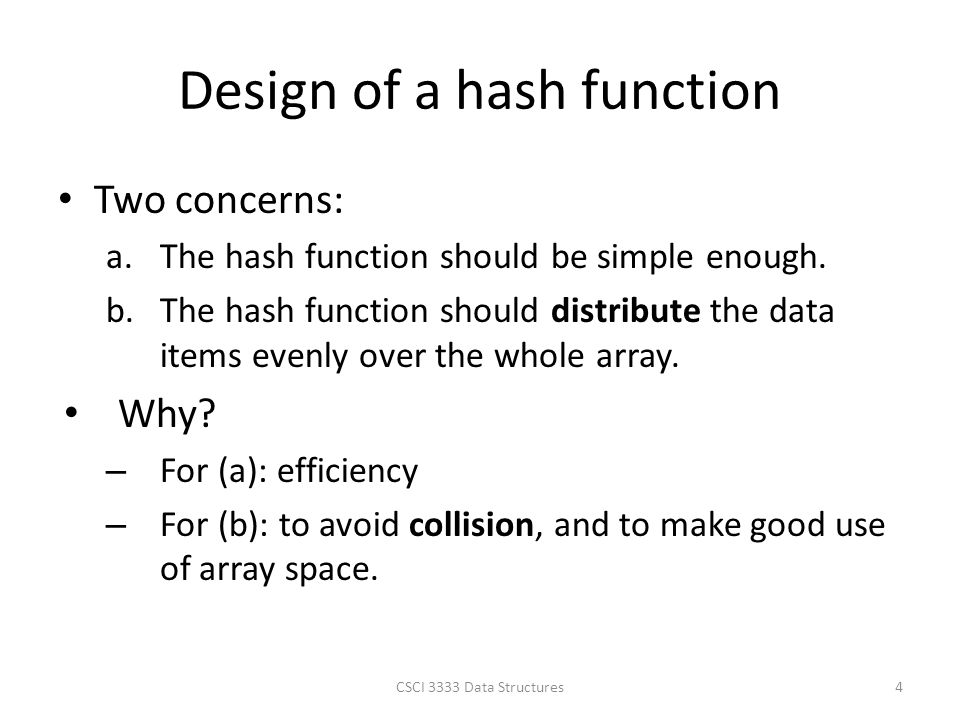 Design of a hash function