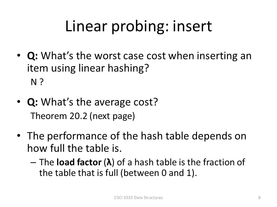 how to find load factor of hash table