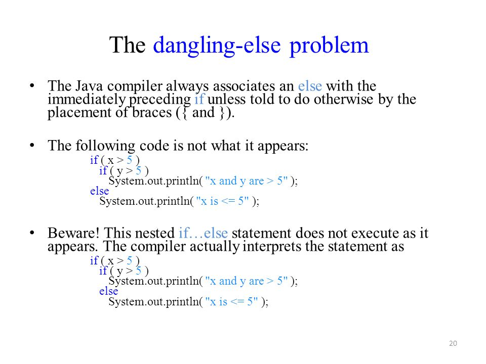 The dangling-else problem