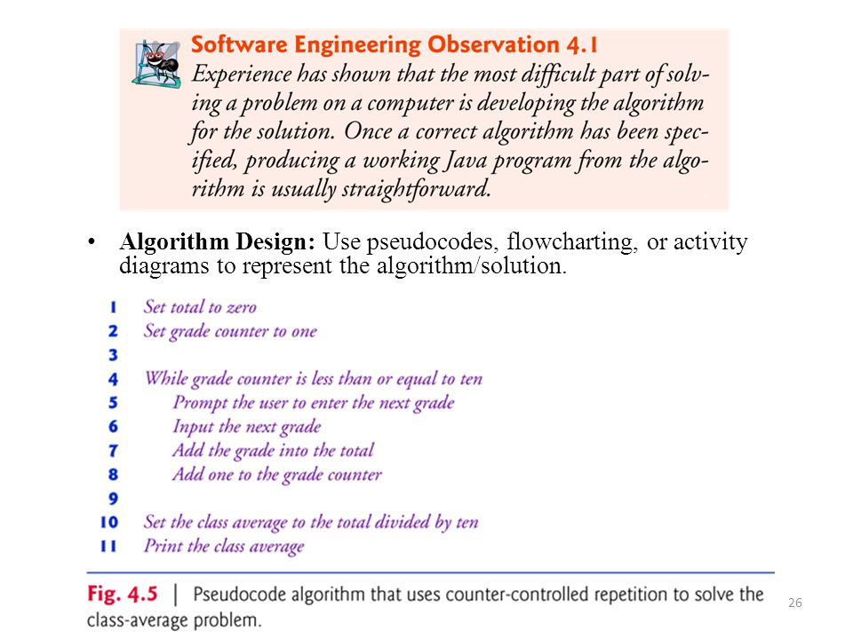 Algorithm Design: Use pseudocodes, flowcharting, or activity diagrams to represent the algorithm/solution.