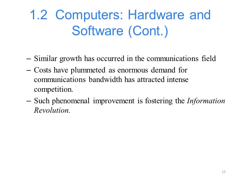 1.2 Computers: Hardware and Software (Cont.)
