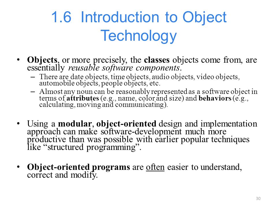 1.6 Introduction to Object Technology