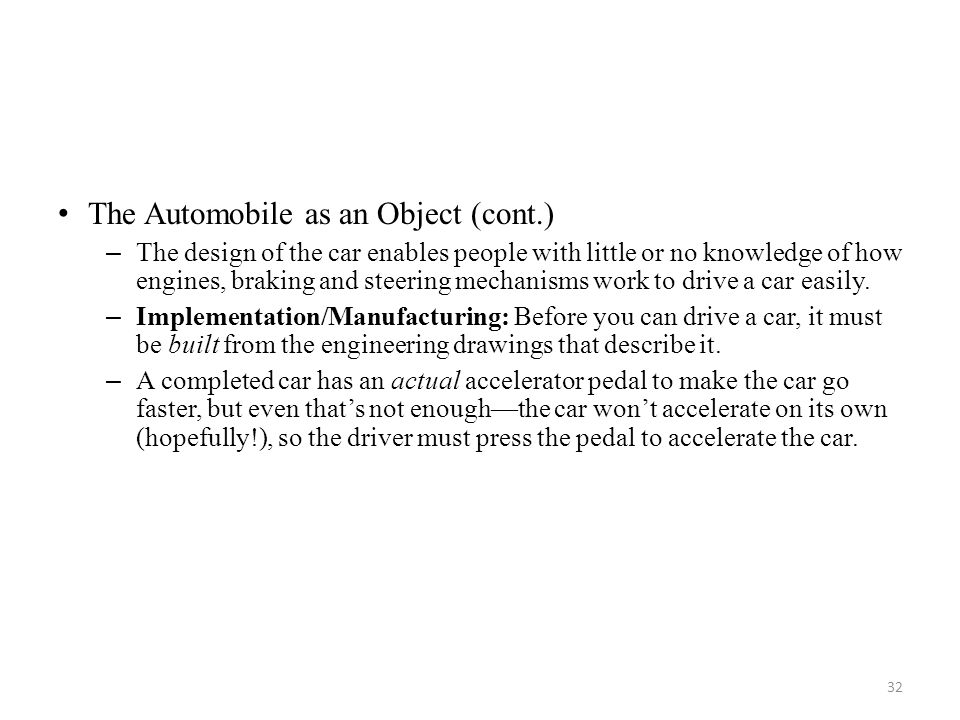 The Automobile as an Object (cont.)