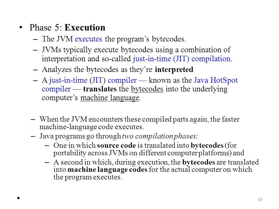 Phase 5: Execution The JVM executes the program's bytecodes.