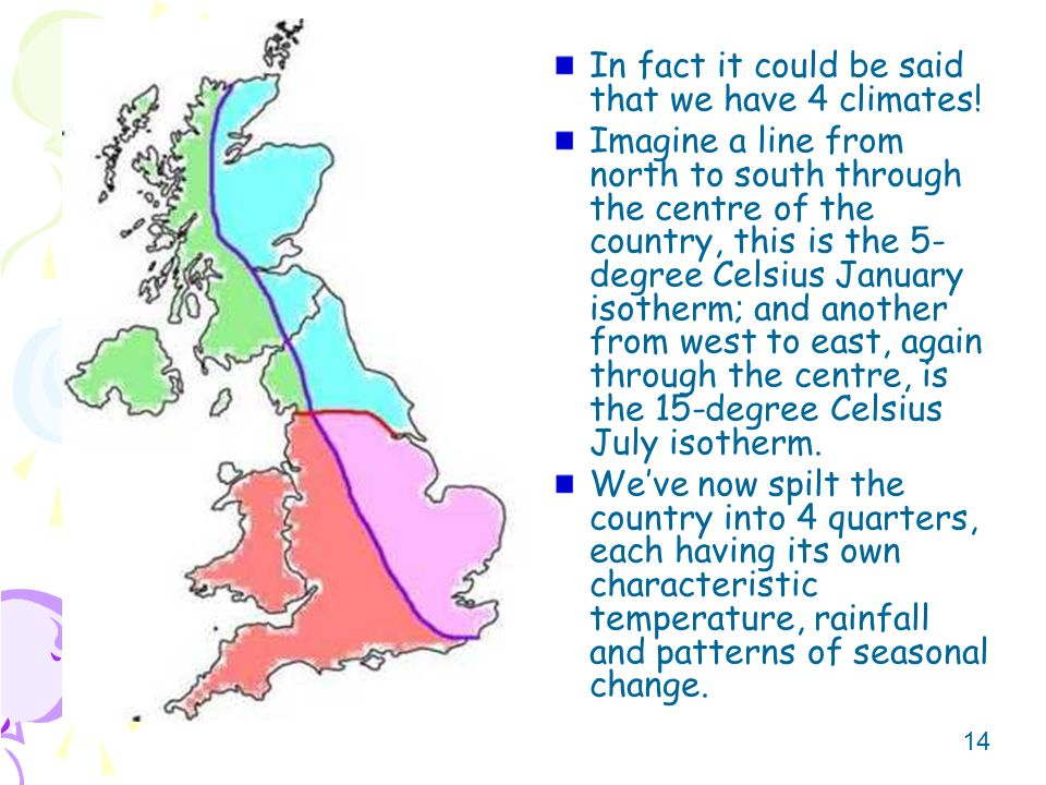 In fact it could be said that we have 4 climates!