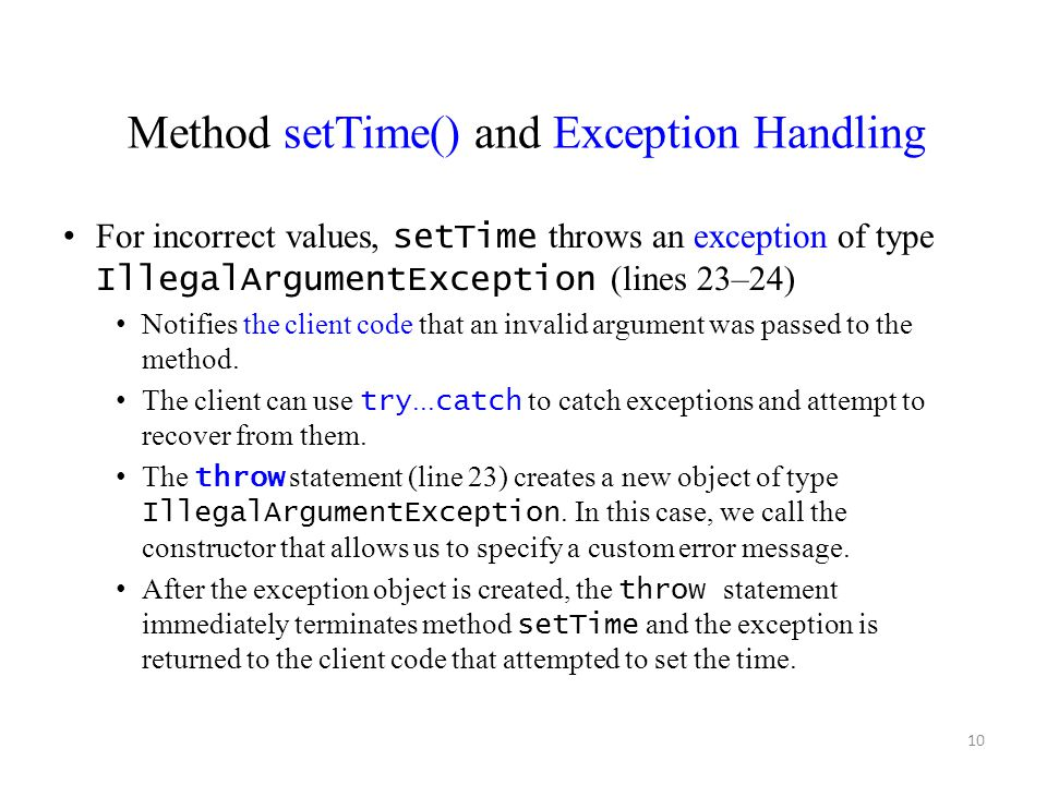 Method setTime() and Exception Handling