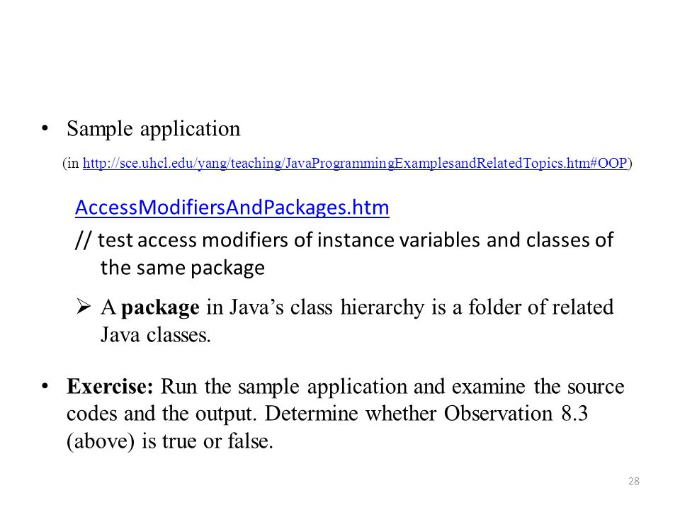 Sample application AccessModifiersAndPackages.htm