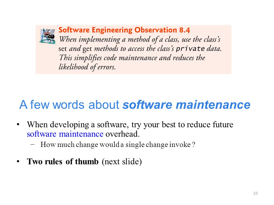 A few words about software maintenance