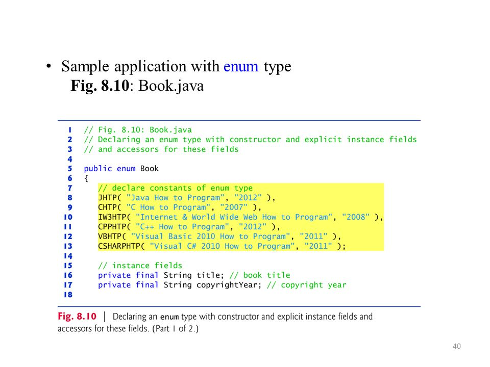 Sample application with enum type