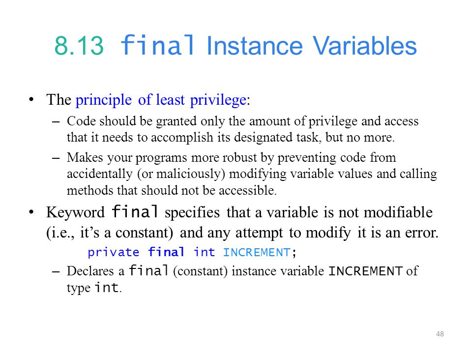 8.13 final Instance Variables