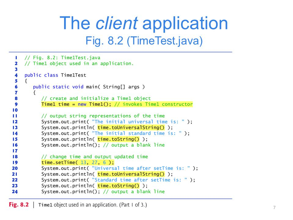 The client application Fig. 8.2 (TimeTest.java)