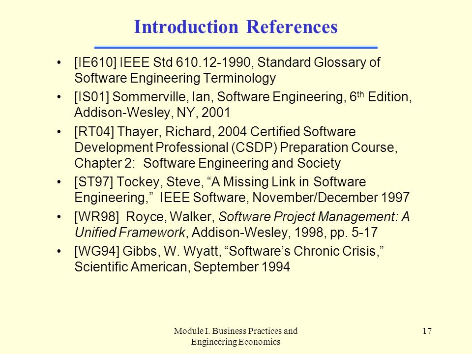 Introduction References