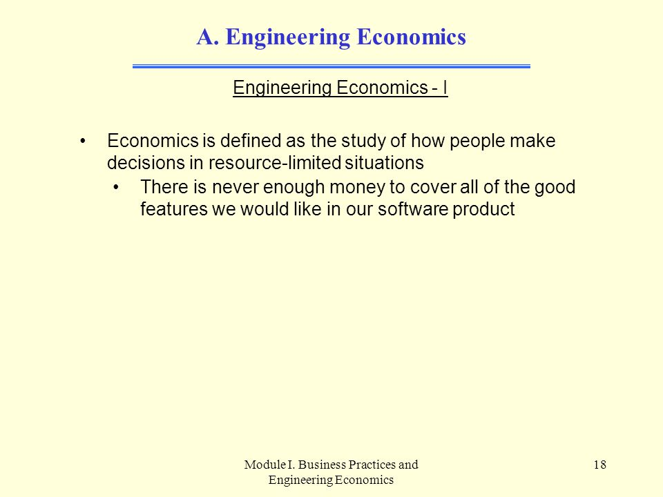 A. Engineering Economics