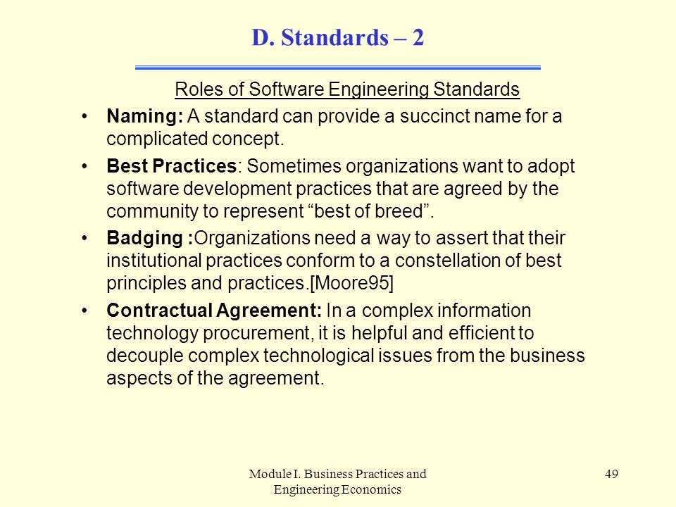 D. Standards – 2 Roles of Software Engineering Standards