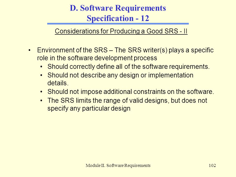 D. Software Requirements Specification - 12