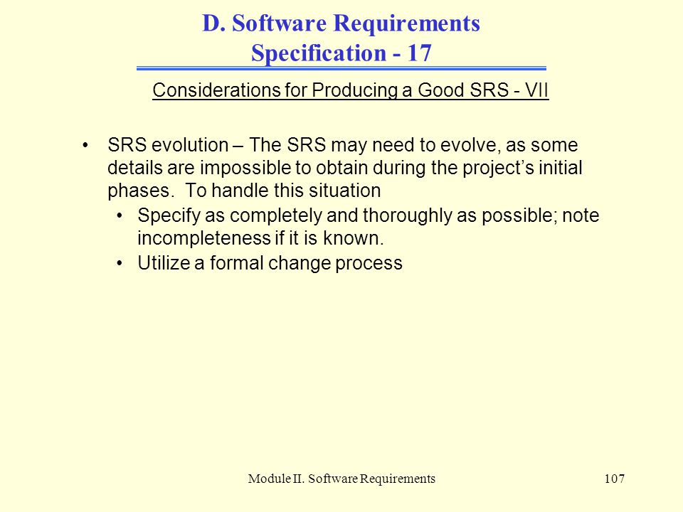D. Software Requirements Specification - 17