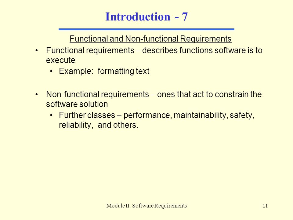 Introduction - 7 Functional and Non-functional Requirements