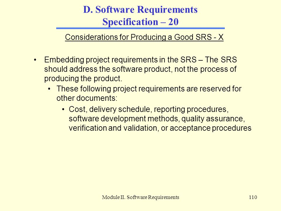 D. Software Requirements Specification – 20