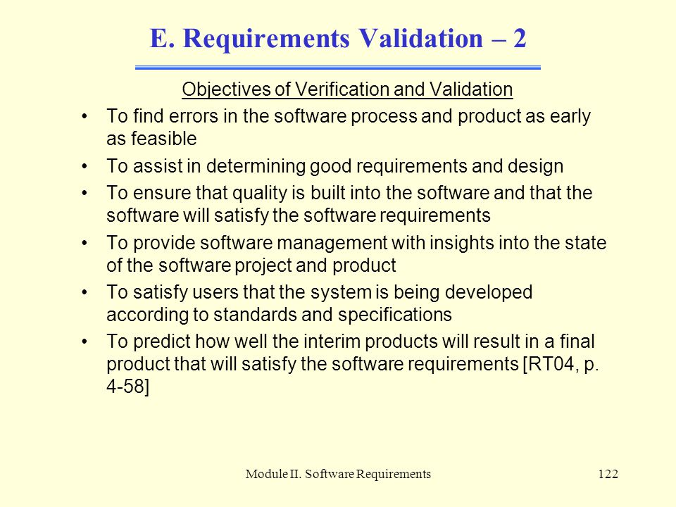 E. Requirements Validation – 2