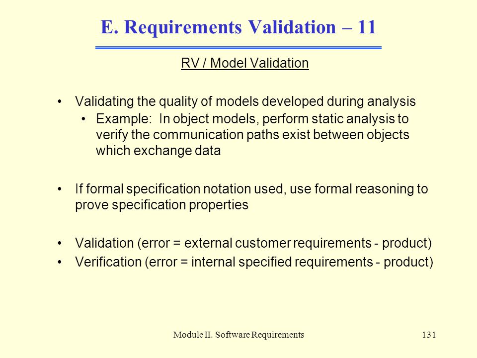 E. Requirements Validation – 11