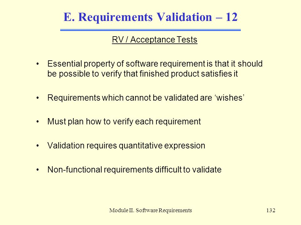 E. Requirements Validation – 12